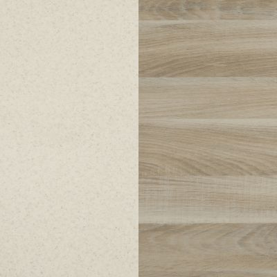 White with grey dots / Natural oak Dacota
