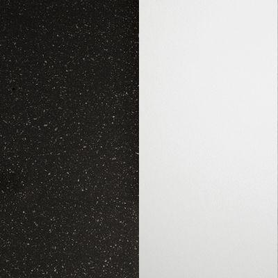 Juoda su aliuminio spalvos drožlėmis, blizgi / Baltas